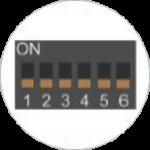 Einstellungen und Adressierung über im Gehäuse integrierte DIP Schalter