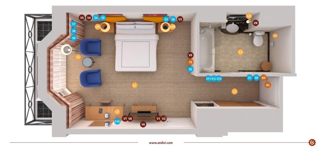 Automatisierungskonzept: Elektroinstallationsplan Hotelzimmer - Andivi